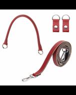 Uchwyt | Tracolla extraslim 110 + manichetto tubolare + clip saffiano | Ruby red