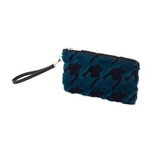Kosmetyczka | Ecopelliccia laseratura pied de poule | Blu navy/ottanio