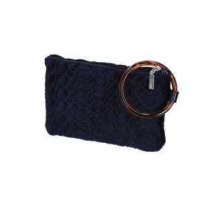 Kosmetyczka O bag manigliotto anello trapuntato cocco Blu Navy