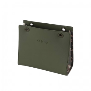 O bag Double body | Ecopelle saffiano stampato | Military/dianthus