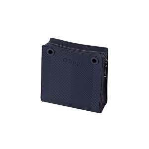 Mini O bag Double body | Zip simil pelle saffiano + texture spigata | Blu navy