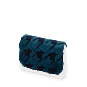 Klapka O bag Glam Eco pelliccia laseratura pied de poule Blu navy/ottanio