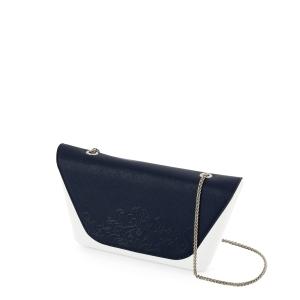 Klapka O bag Sheen Ecopelle saffiano arabesque con catena Blu navy