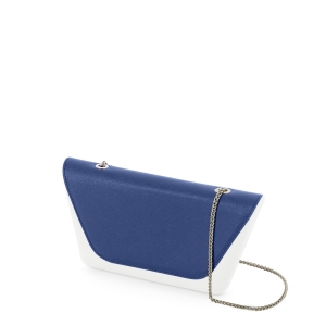 Klapka O bag Sheen | Saffiano con catena | Cobalto