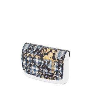 Klapka O Pocket Simil pelle saffiano check floral Nero