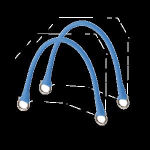 Krótkie uchwyty Micromanico Tubolare Saffiano Celeste