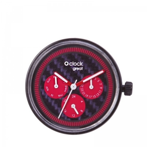 Mechanizm O clock Great Day Time Carbon Rosso