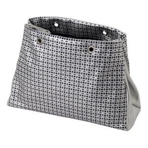 O bag body Market | Slide simil pelle flower effetto traforato | Blu navy/argento