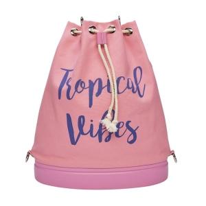 O bag Tote Canvas slogan beach Pink