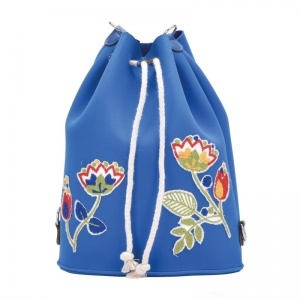O bag Tote | Tesutto gommato fiore| Cobalto