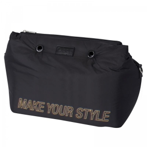 O bag Brooklyn Nylon imbottito + maxi logo Nero
