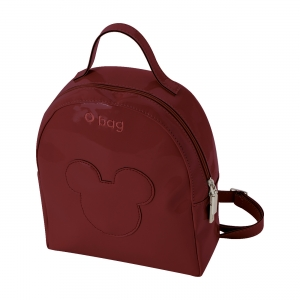 Obag Ivy Simil pelle vernice + patch Mickey Ruby red