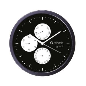 O Clock Wall Great Date Bianco Su Nero