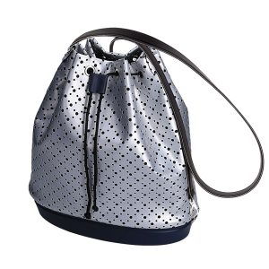 Plecak O bag tote simil pelle geometrica effetto traforato Argento